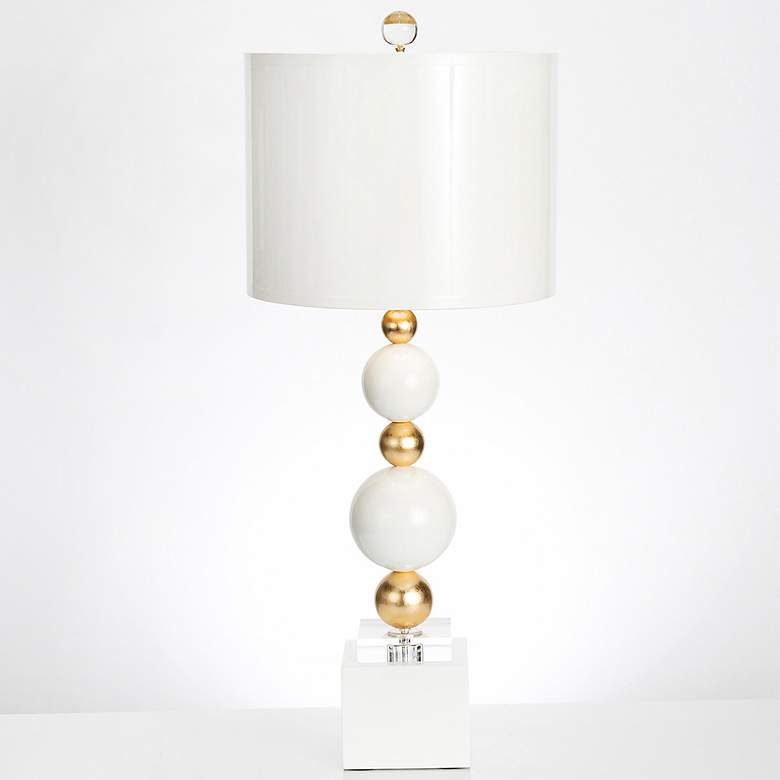 Couture Sheridan White And Gold Leaf Table Lamp 38j07 Lamps Plus Table Lamp Lamp Hgtv Design Star
