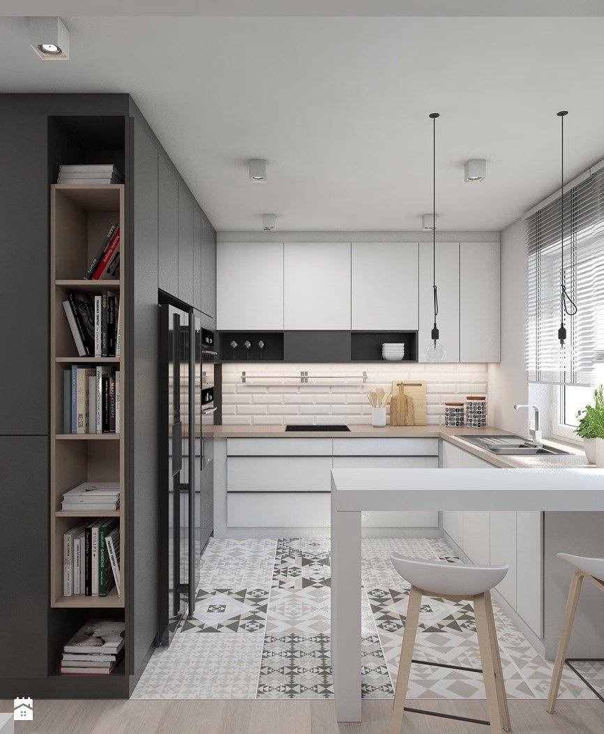 Super Inspiration #cuisine #design #carreaux #ciment #blanc #noir #bois  DA11