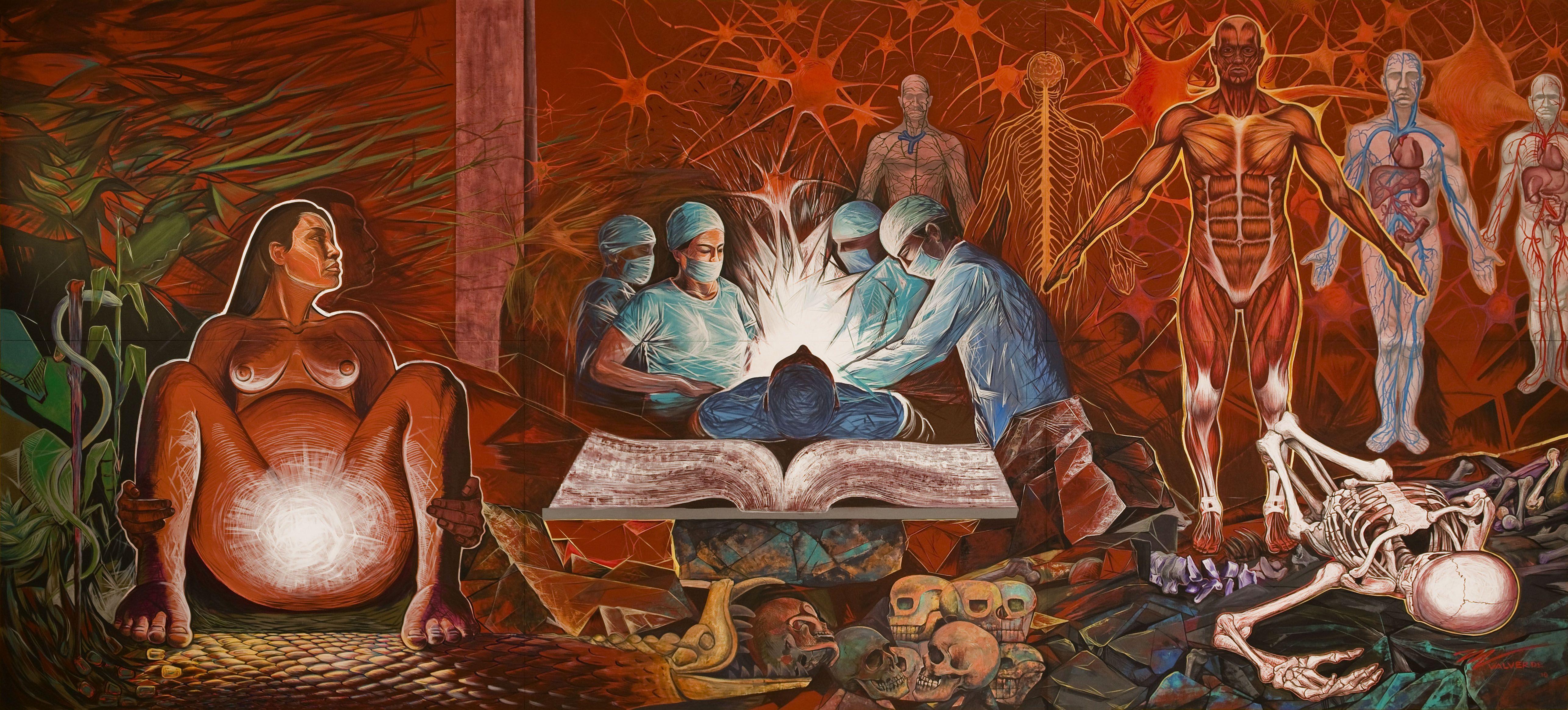 Mural, La medicina sustento de la vida y vencedora de la muerte. 2010. by Miguel Valverde