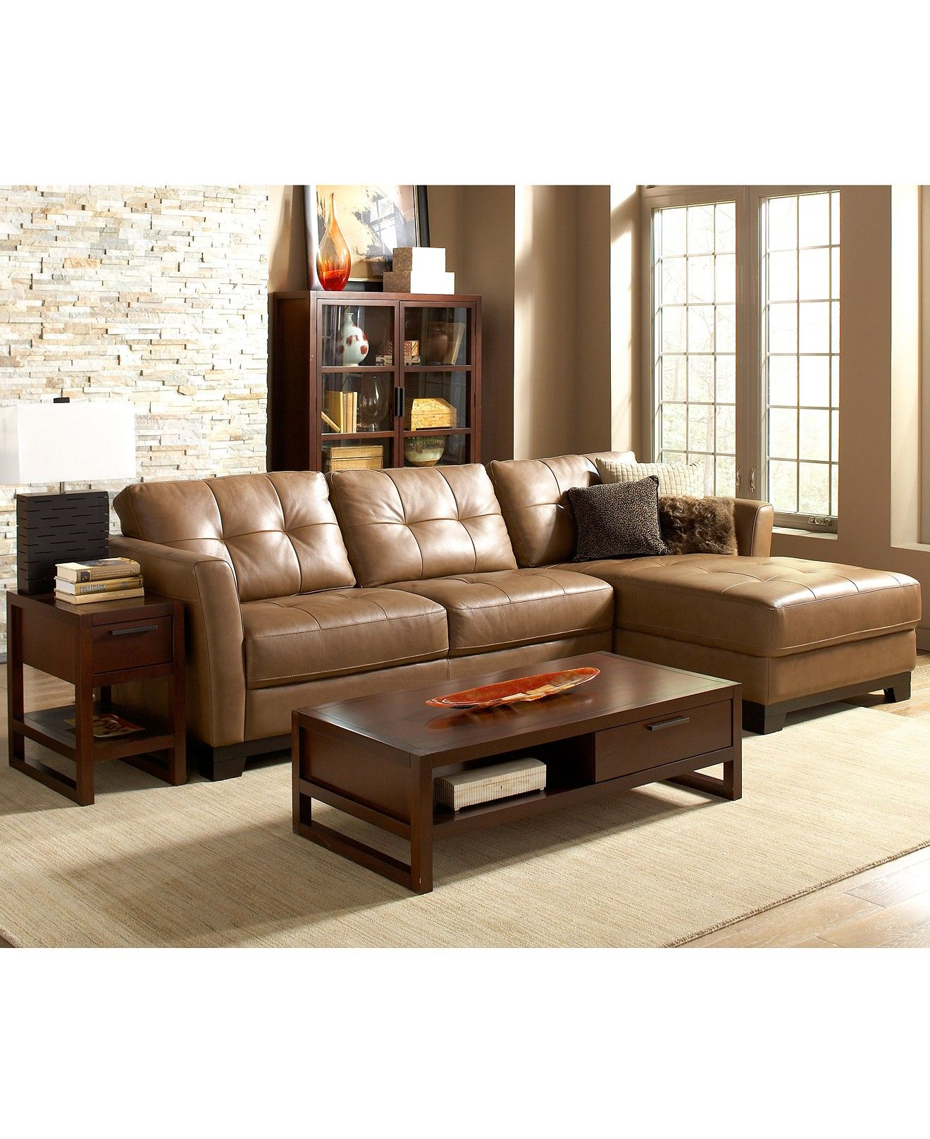 Martino Leather Chaise Sectional Sofa, 2 Piece (Apartment ...