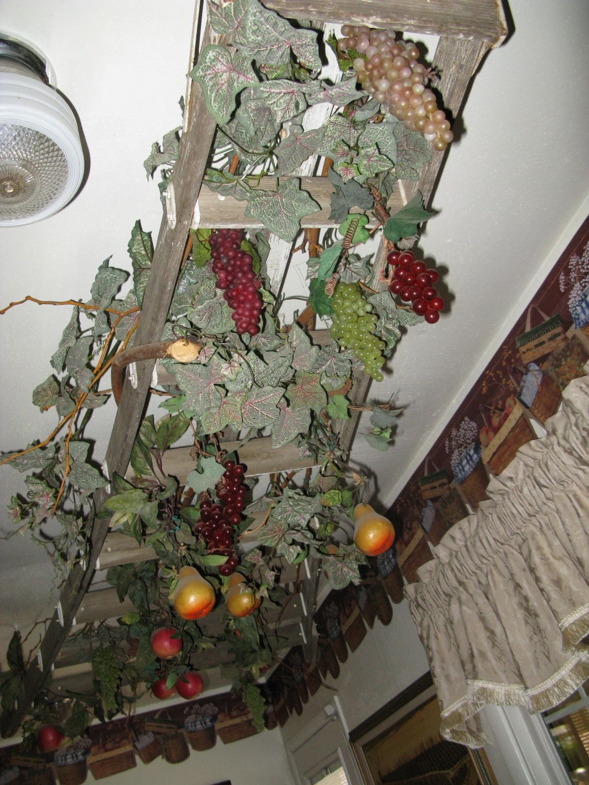 Old Ladder Hanging From Ceiling Holiday Decor Christmas Wreaths Ladder Decor