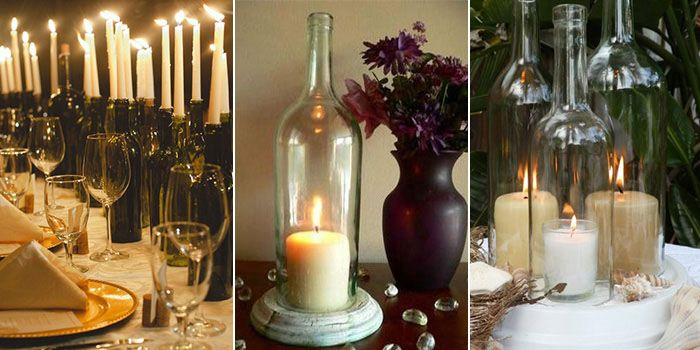 Porta velas com garrafas de vidro luminarias pinterest garrafas de vidro velas e vidros - Portavelas grandes ...