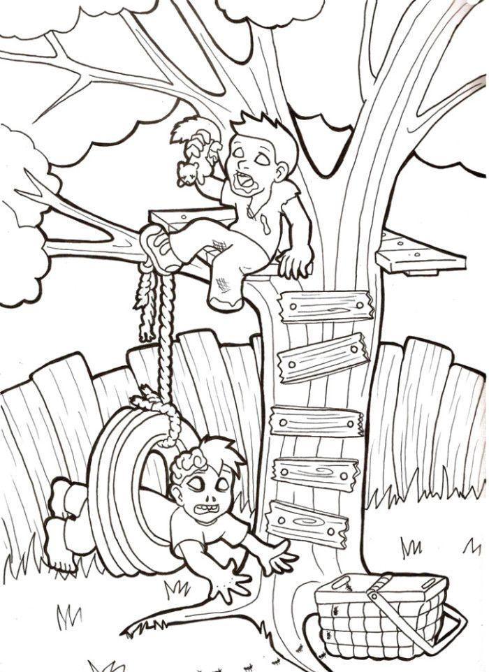 Two Zombie Kids Coloring Pages | Desenhos para colorir ...