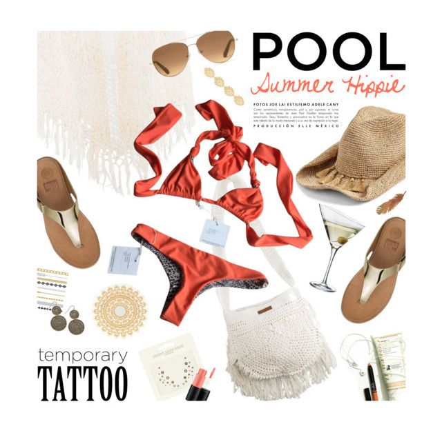 """""""Temporary tattoo for the pool"""" by magdafunk ❤ liked on Polyvore featuring Anna Kosturova, Eva Solo, Billabong, Acacia Swimwear, Flora Bella, Stella & Dot, Johnny Loves Rosie, MAC Cosmetics, FitFlop and Summer"""