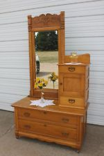 Antique Oak Gentlemans Dresser Bachelor Chest Bevel Mirror Top Hat Area Vintage Beveled Mirror Antique Furniture Mirror Tops