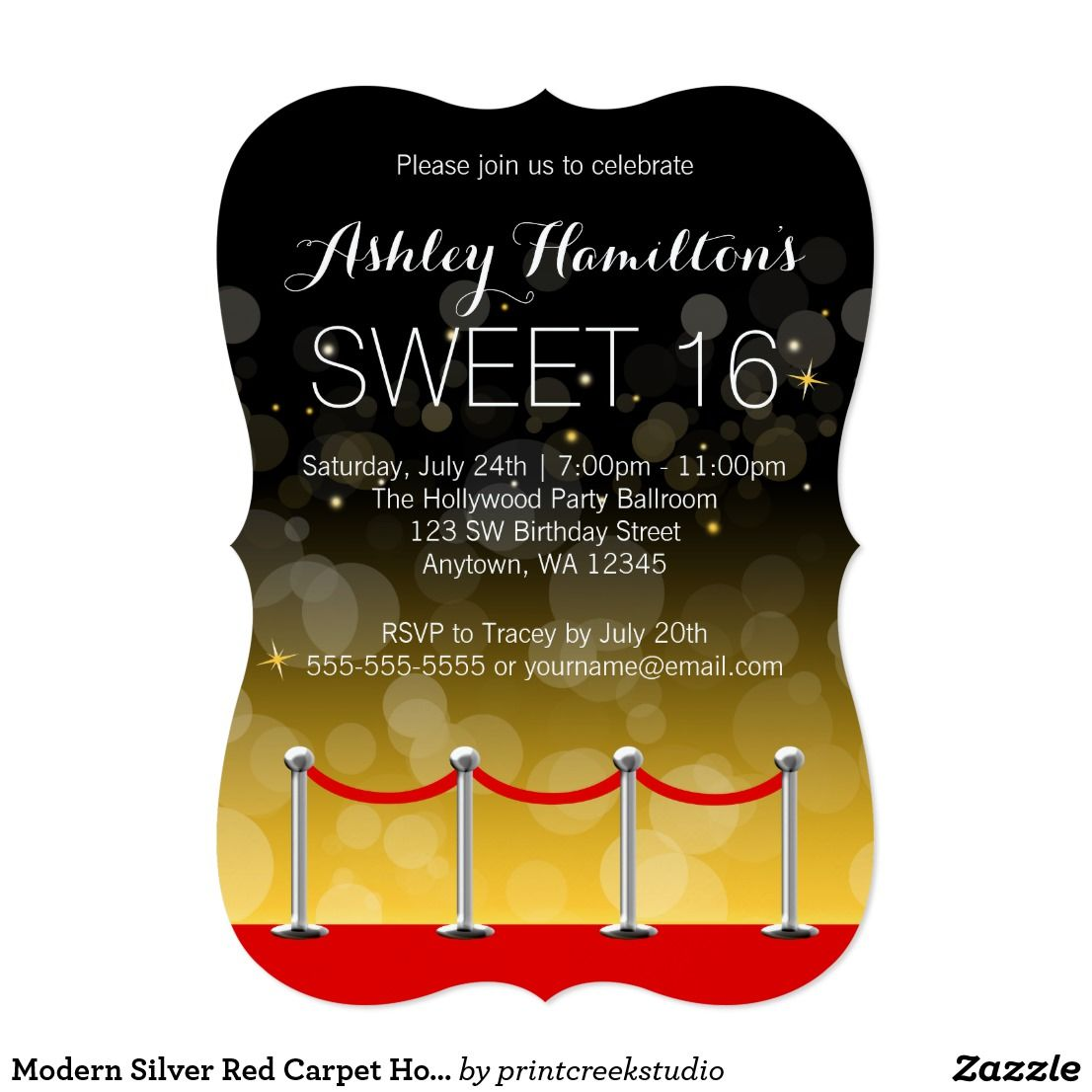 Modern Silver Red Carpet Hollywood Sweet 16 Card A stylish red ...