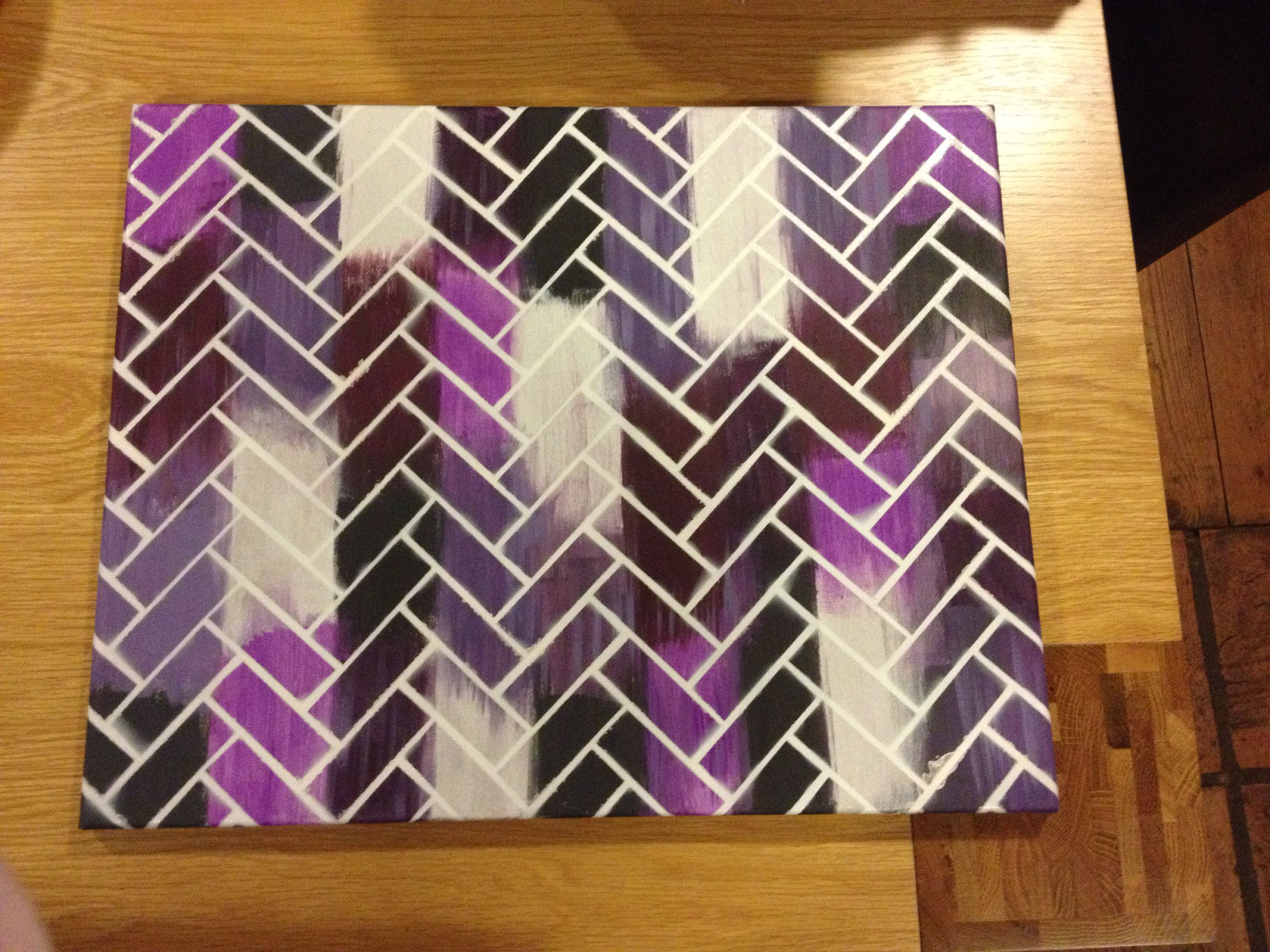 Diy Canvas Art Herringbone Pattern, Simple And Effective