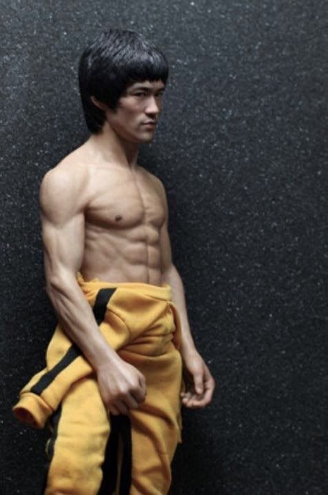 Bruce Lee Yellow Jumpsuit Kung Fu Jeet Kune Do Collectible Action Figure Model