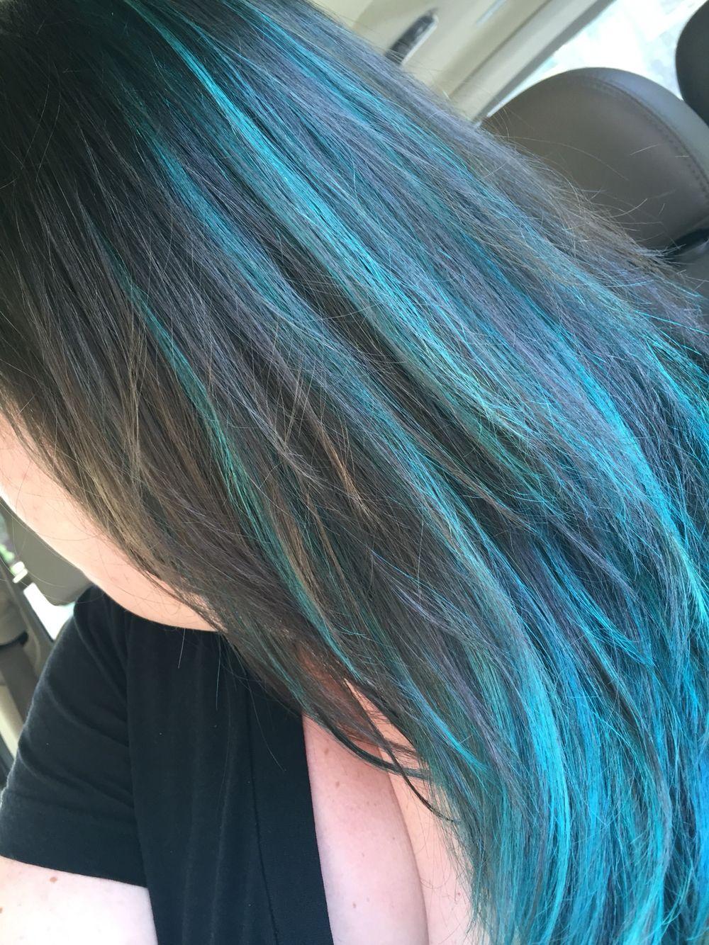 Blue Aqua hair highlights images