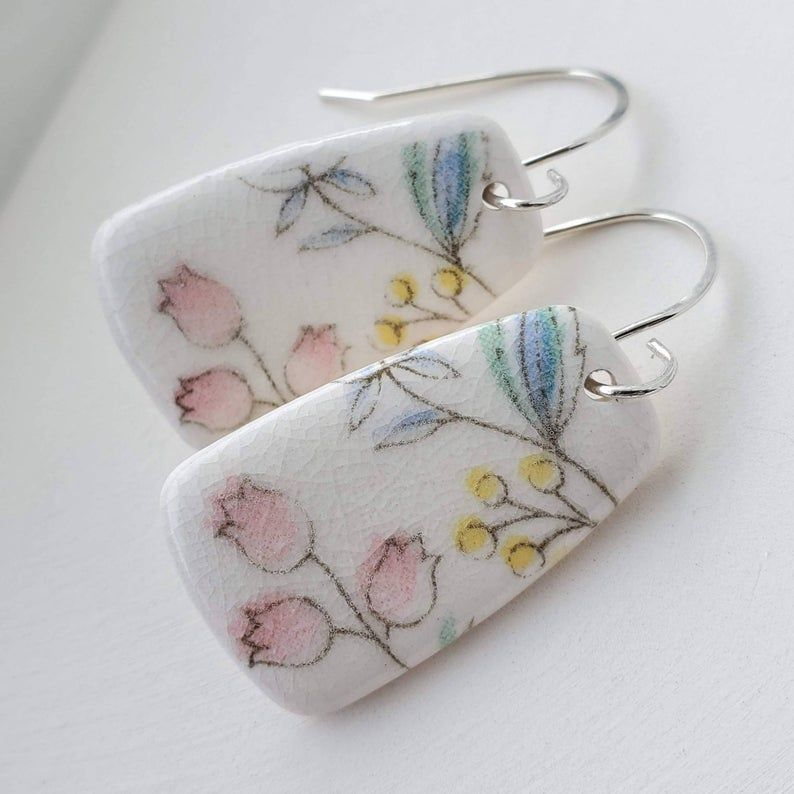 Dangle Earring Broken China Style Earrings Pottery Shard Jewelry Earrings with Hand Forged Sterling Silver Earwires