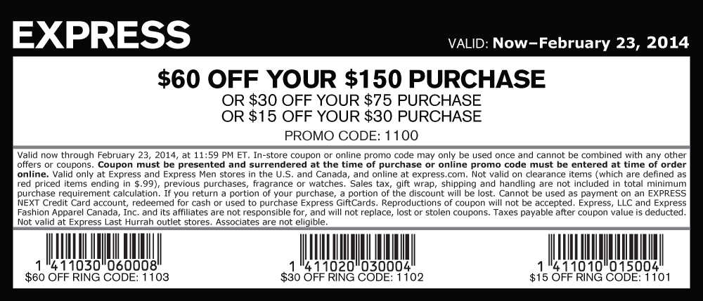 Pinned February 20th 15 Off 30 And More At Express Or Online Via Promo Code 1100 Coupon Via The Cou Promo Codes Online Clothing Coupons Printable Coupons