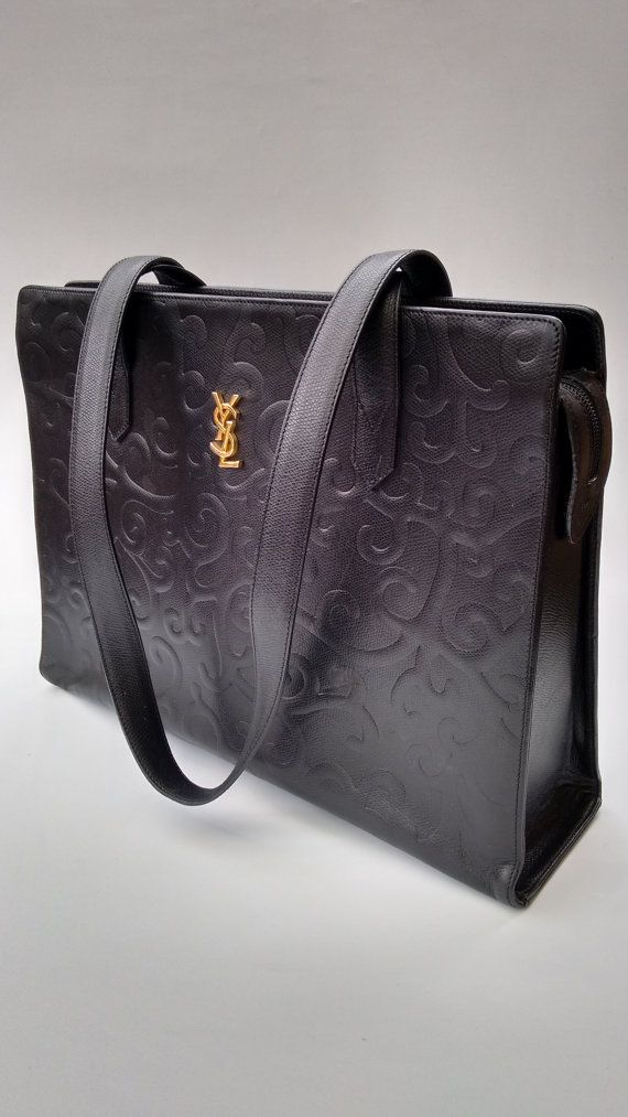 af1c04319792 YSL Yves Saint Laurent Vintage Arabesque Black Leather Shoulder Bag ...