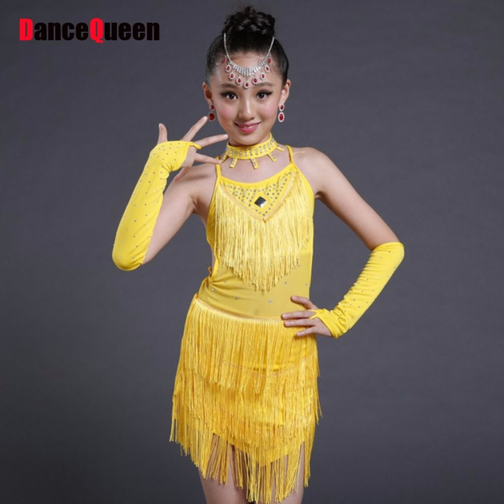 Yellow dress kids  Click to Buy ucuc  New Latin Dance Costume YellowBlueRed Kids
