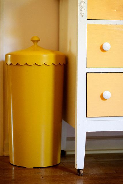 scalloped vintage clothes bin