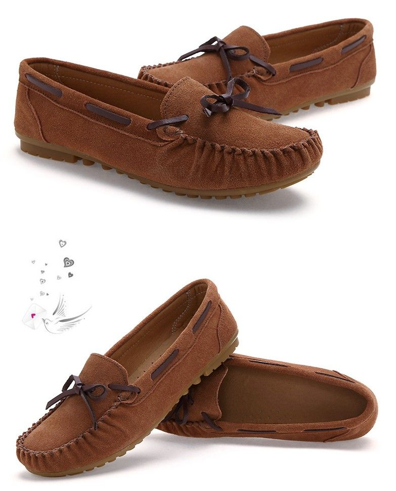 Womens  brown genuine leather low-cut  slipon shoe loafers 1a5c1e0a6