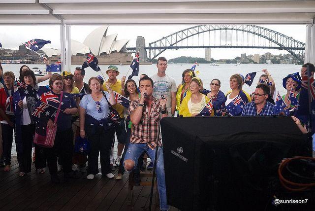 Shannon Noll with Sunrise on Sydney Harbour - Australia Day 2012