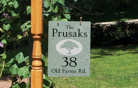 Address Plaques | The Stone Mill - Hanging Sign Design - Customize with your name, year or house number!