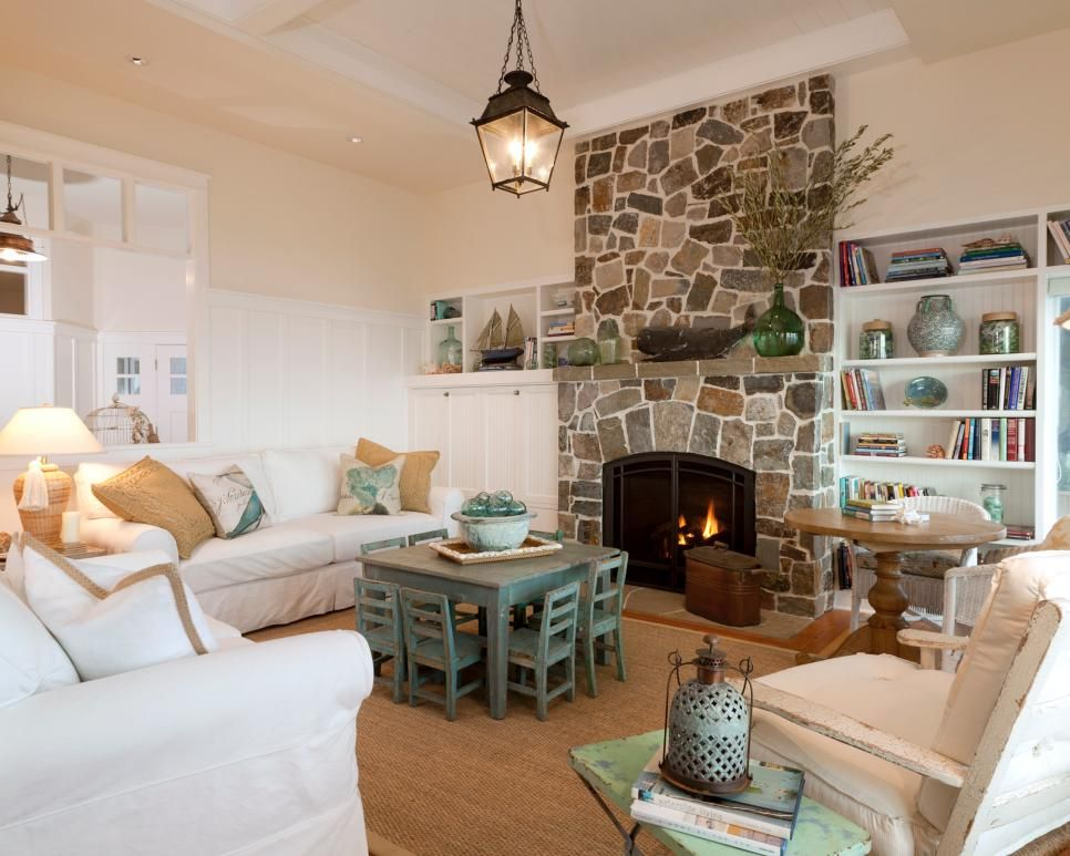Cottage Living Room With Fireplace touches of green throughout this cottage living room provide the