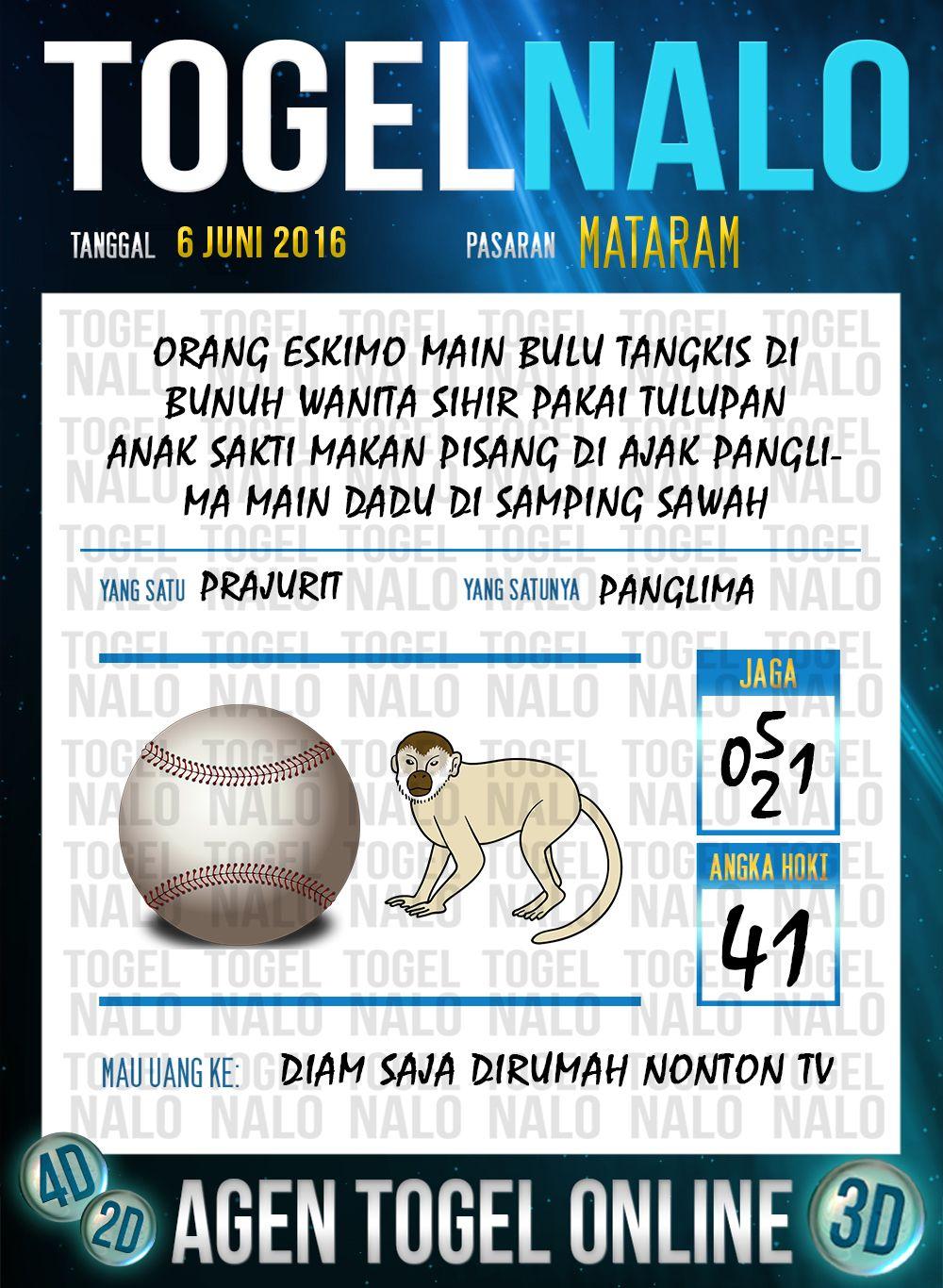 Nomor Jitu Togel Online Live Draw 4D TogelNalo Mataram 6 Juni 2016