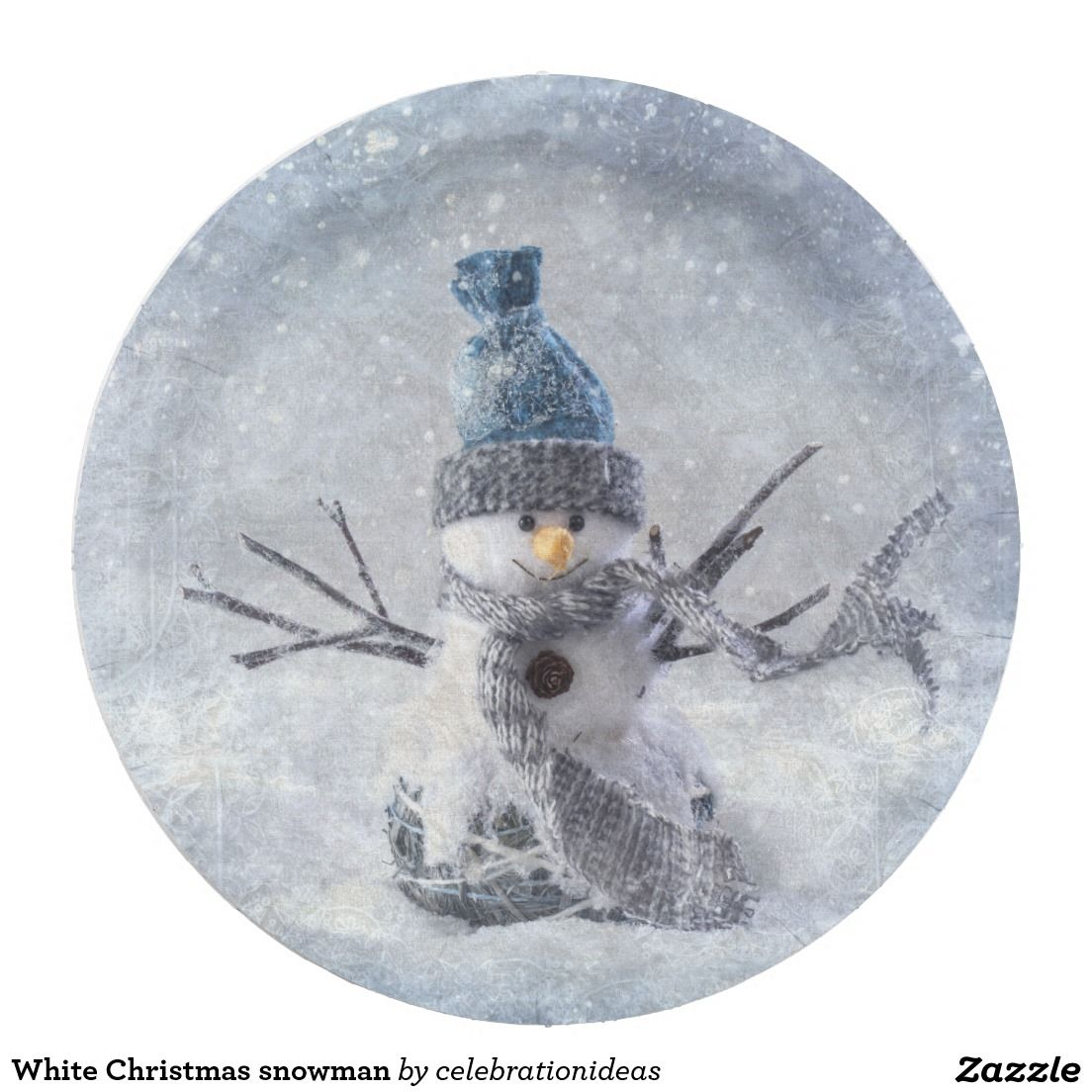 White Christmas snowman Paper Plate | Zazzle.com