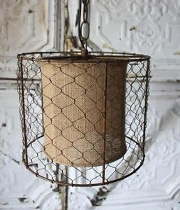Lampshade With Burlap And A Chicken Wire Wrap Seems Like An Easy Diy I Really Like The Rustic F Rustic Pendant Lighting Wire Pendant Light Rustic Lamp Shades