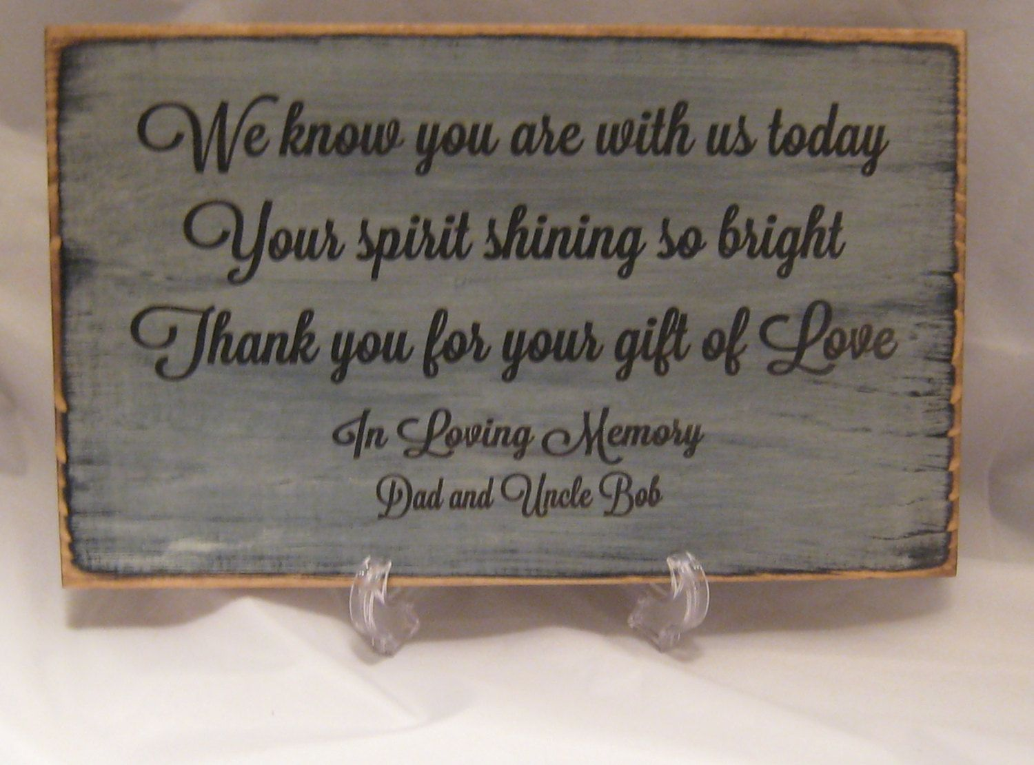 rustic memorial sign for wedding or special event distressed and