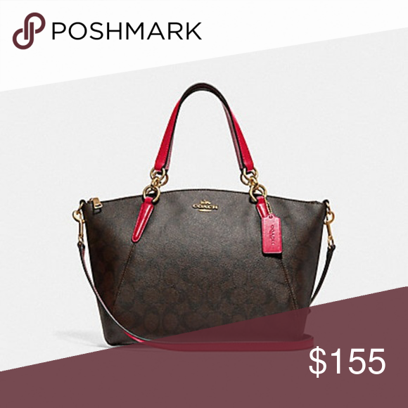 538397aa479 Coach Small Kelsey Signature Brand new with all tags Dark brown signature  body with red leather