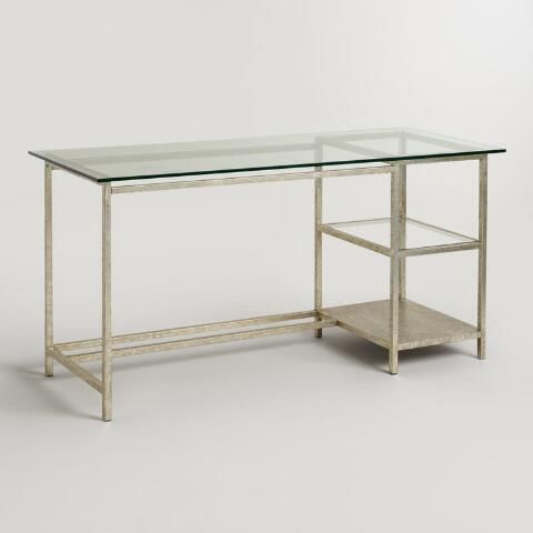 Glass Top And Burnished Gold Colton Mix Match Desk With Images Home Office Furniture Modern Home Office Furniture Furniture