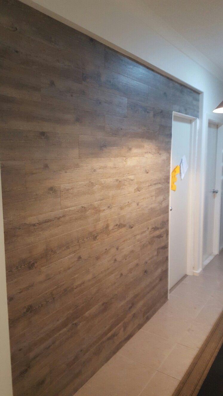 Adhesive vinyl flooring on wall  YAY finallyhomeowners