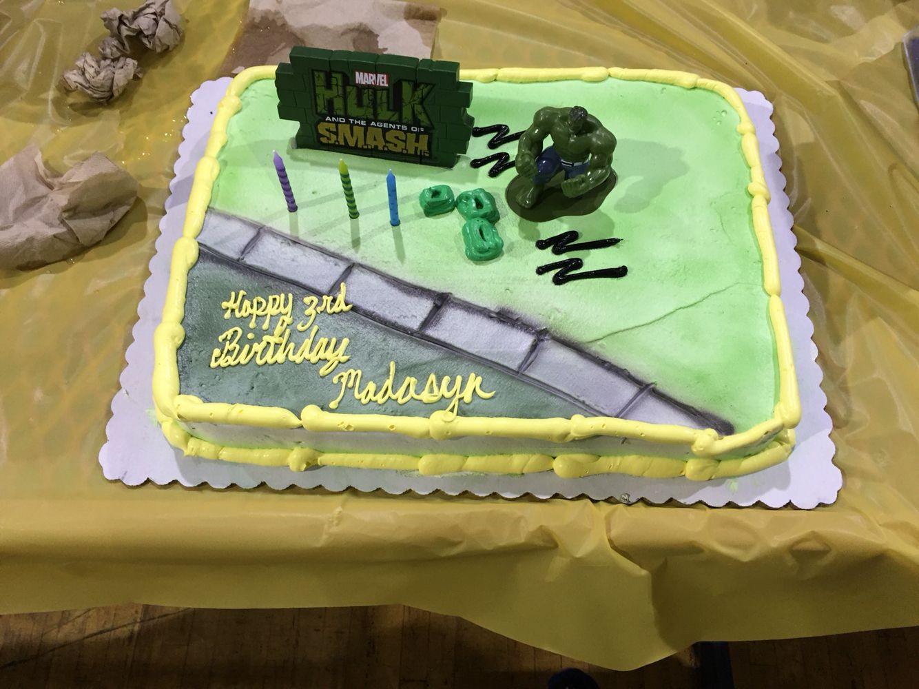 Hulk birthday cake for my Daughter Walmart made it and it was