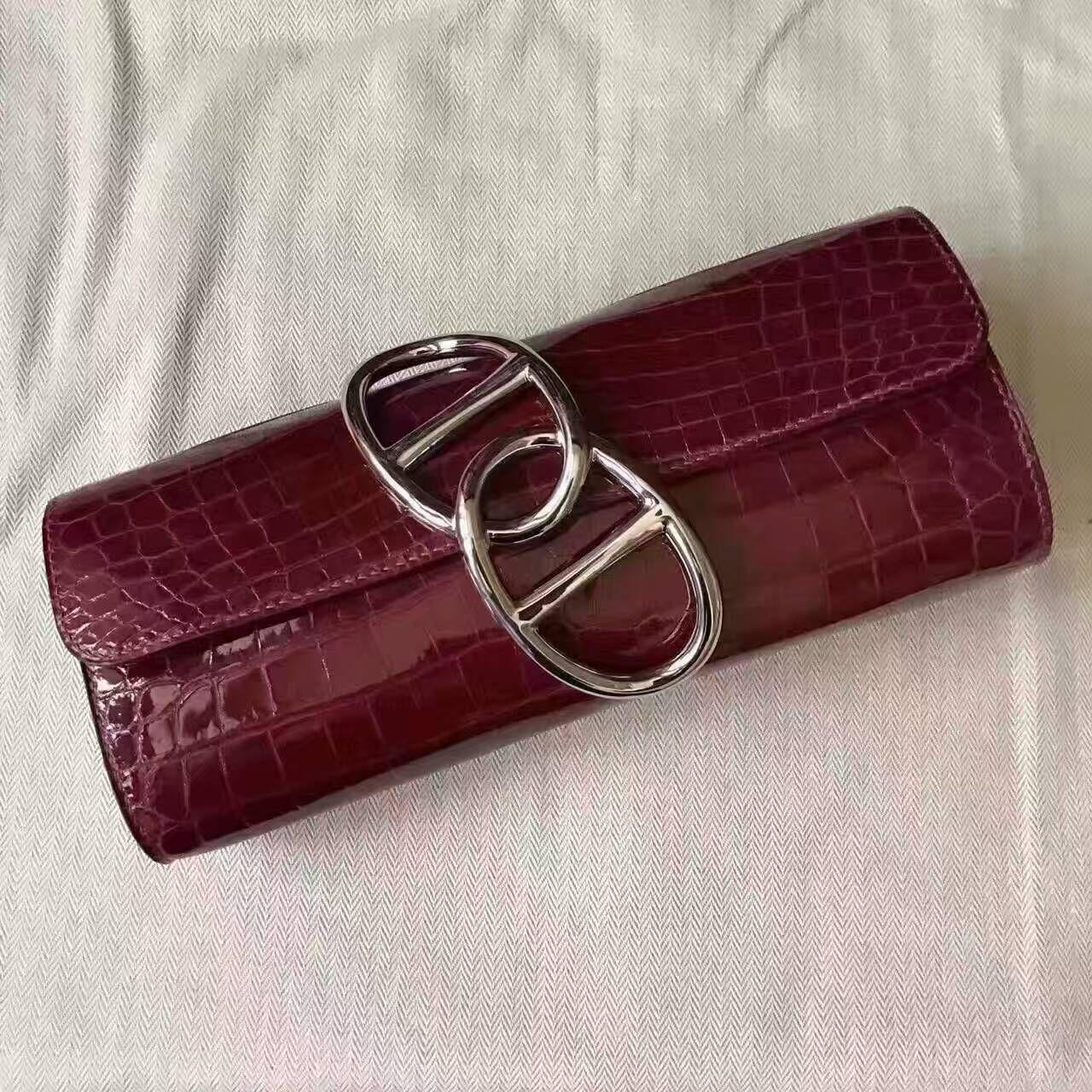 7c975724601a  Latest Hermes evening bags Summer 2017-cheap Hermes Crocodile Egée Evening  Clutch Bag Burgundy