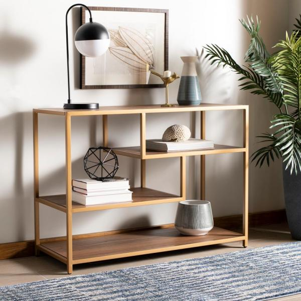 Safavieh Reese Walnut Gold Console Table Cns6203c The