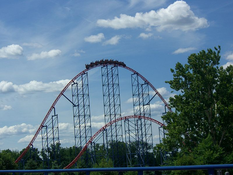 Superman Ride Of Steel At Six Flags America I Ve Ridden The Old Superman At New England Which Became Bizarro Six Flags America Old Superman Roller Coaster
