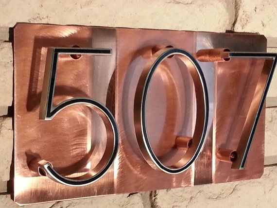Copper Address Numbers Copper House House Numbers Craftsman House Numbers