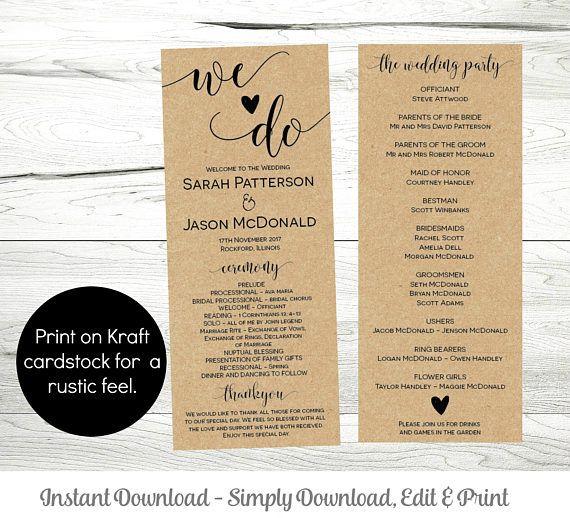 Printable Wedding Program Template Instant Download Editable - Editable wedding program templates