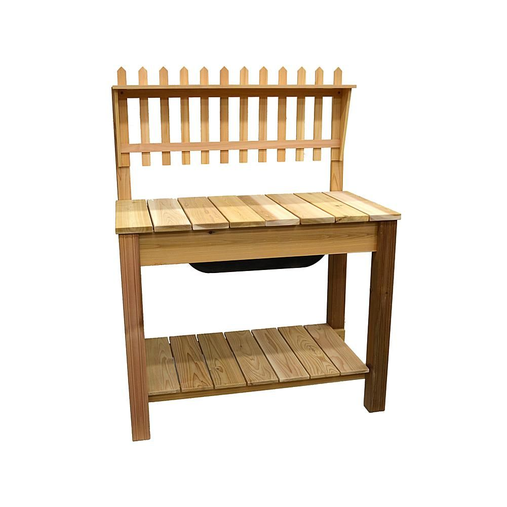 Phenomenal Arboria Cedar Wood Potting Shelf And Bench Set 8423630 Gmtry Best Dining Table And Chair Ideas Images Gmtryco