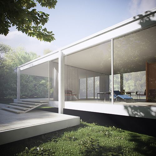 Farnsworth House - Mies van der Rohe beautiful minimalist design - the spacial quality of the interior connects with the natural open exterior