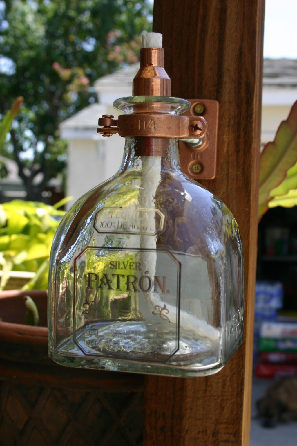 2 Patron Tequila Tiki Torch Oil Lamps Including Bottle Hardware