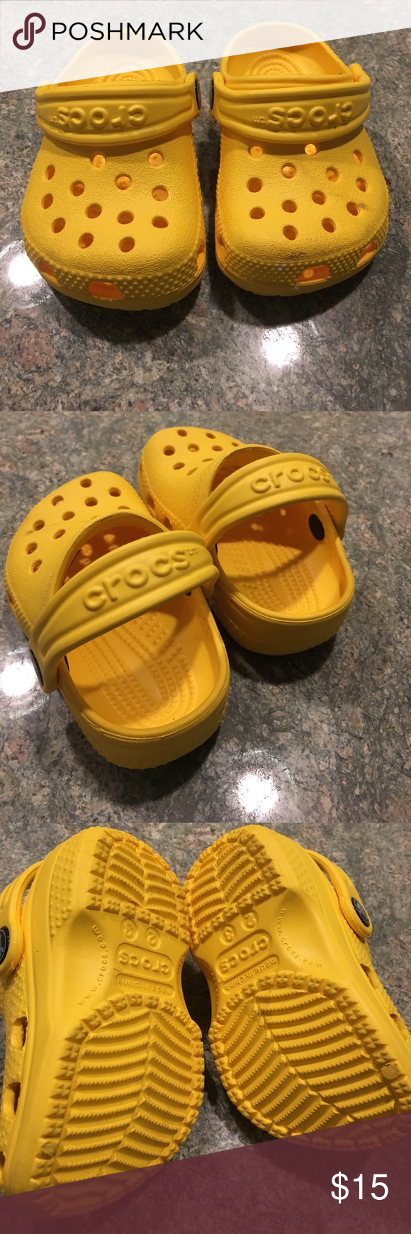 420834754ab6 Yellow crocs. Size 2 3. Adorable crocs for your little one. Mustard yellow.  Great for summer