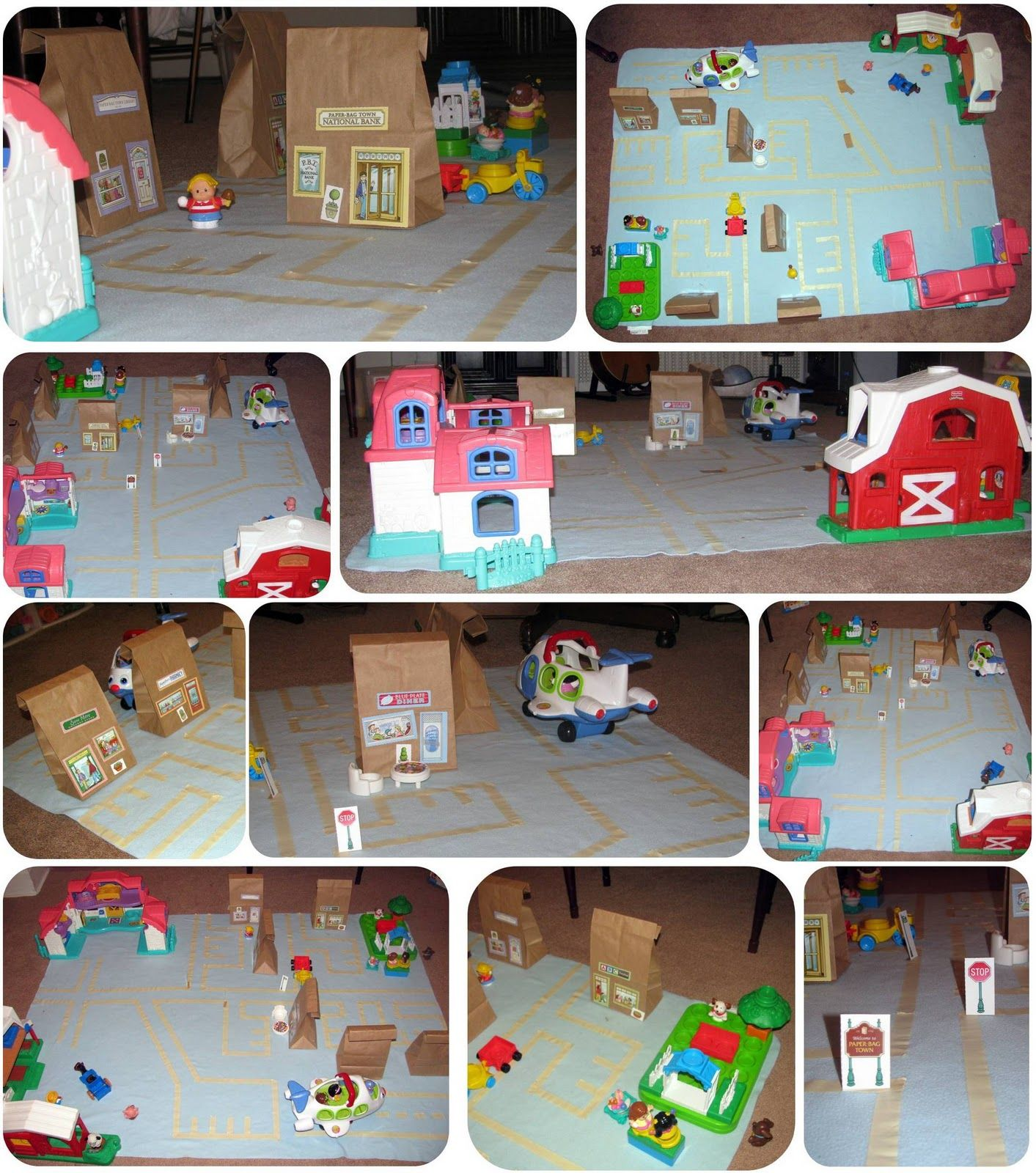Paper bag building - Use Painter S Tape On A Blanket To Create Infrastructure Use Farm Paper Bags And Houses To Create The Town A Rainy Day Turned Exciting