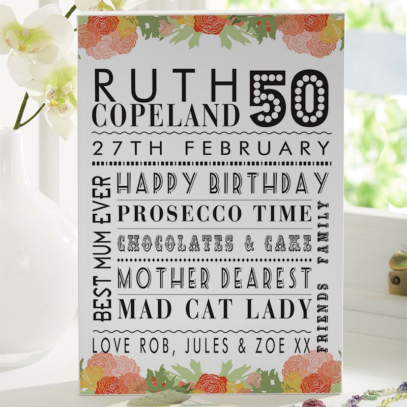 50th Birthday Gift For Her Of Personalised Age Print