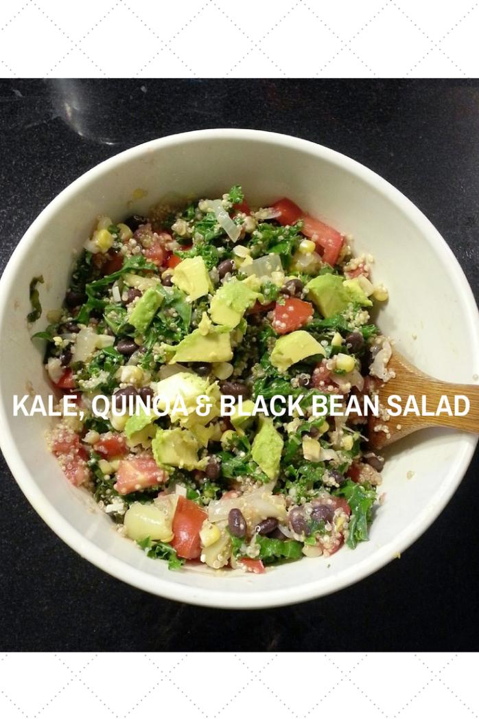 kale, quinoa, black bean and avocado salad