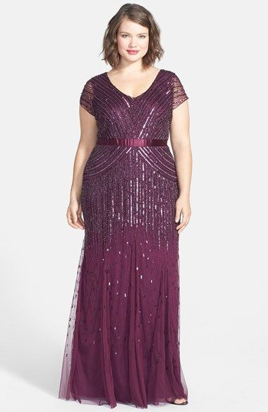 ff94bae5be0 1920s Style Plus Size Dress - Adrianna Papell Embellished Mesh Gown (Plus  Size)