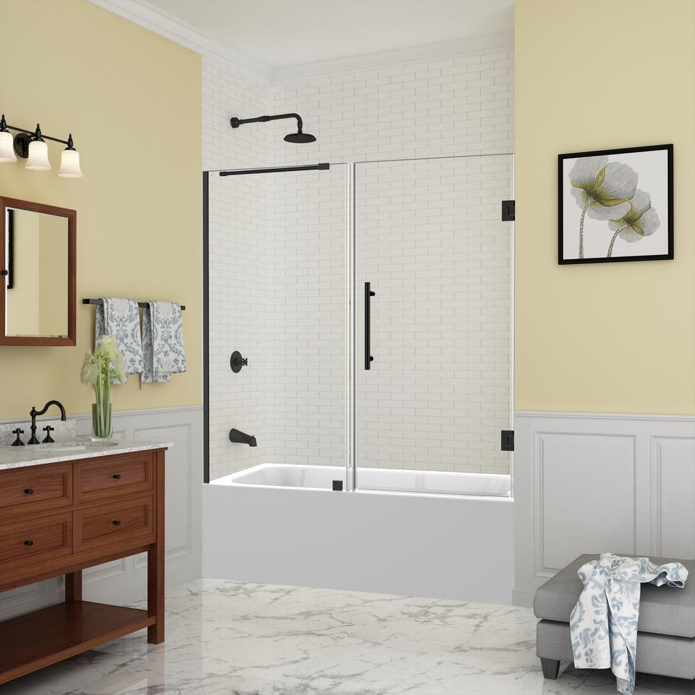 Aston Belmore 59 25 In To 60 25 In X 60 In Frameless Hinged Tub