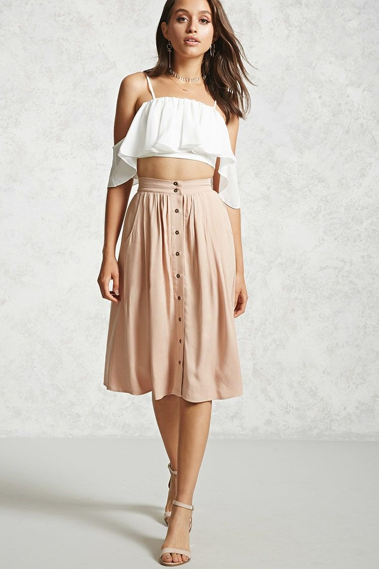 2612ee7c8 Forever 21 Contemporary - A woven skirt featuring a button front, slanted  front pockets, an elasticized waist, pleated front, and a flared hem.