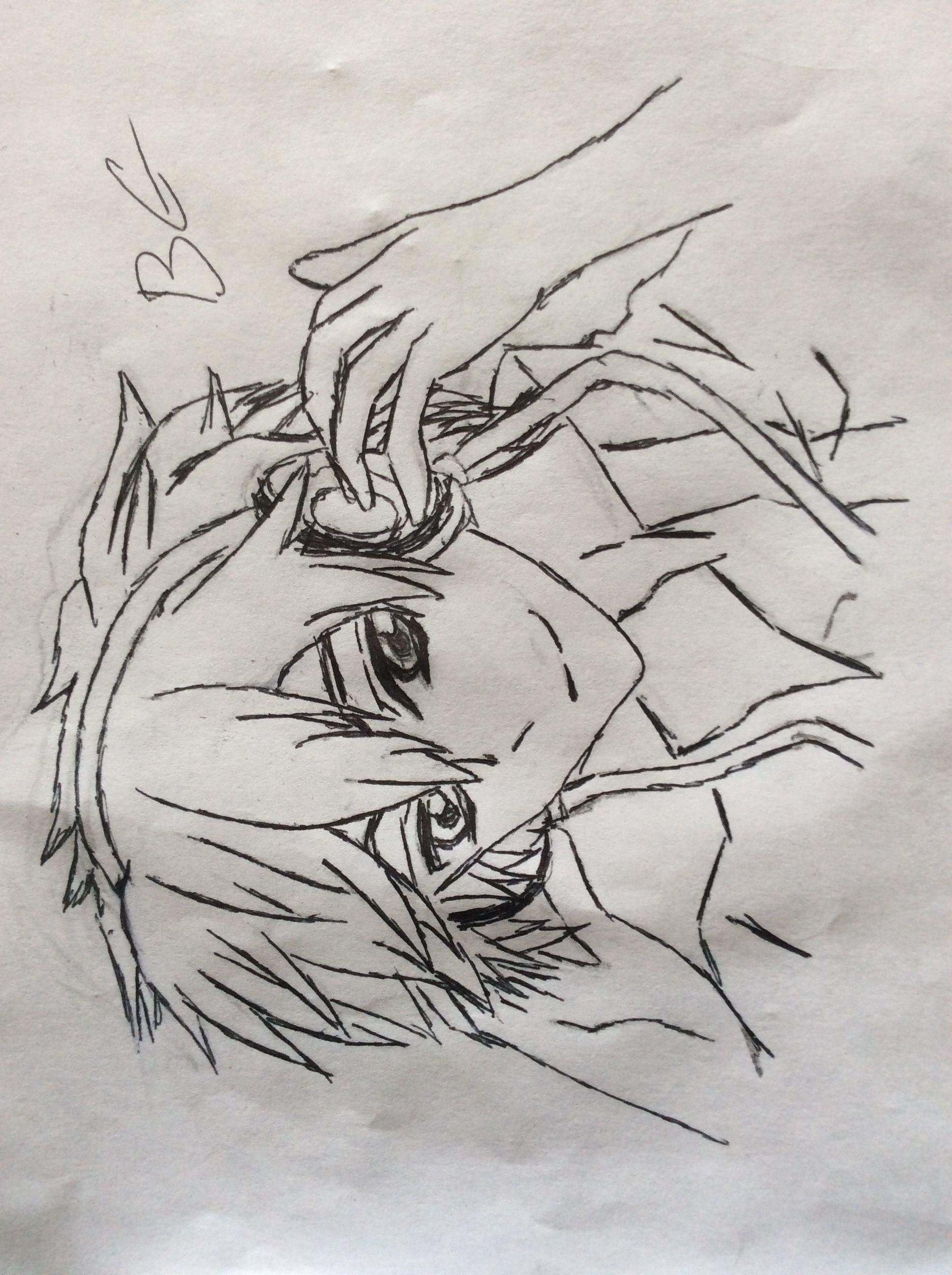Line Drawing Boy : Anime boy headphones my drawings