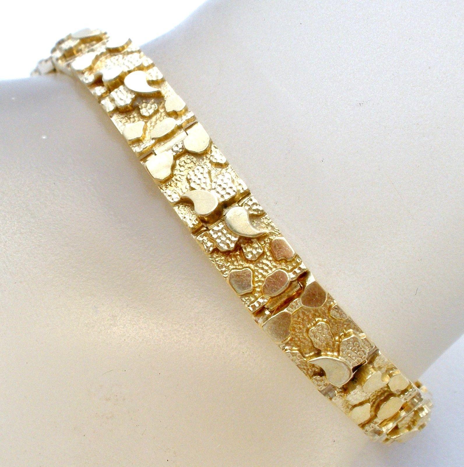 Details about k yellow gold nugget bracelet