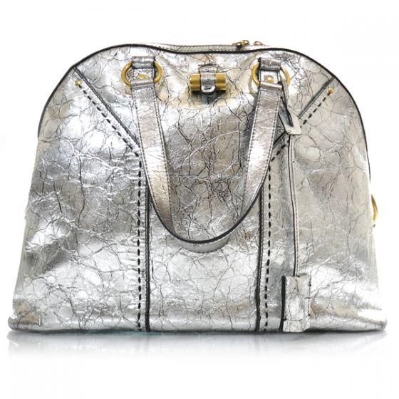 YSL YVES SAINT LAURENT Crackled Leather Oversized Muse Silver. Metallic Bag 994c7e110d42c