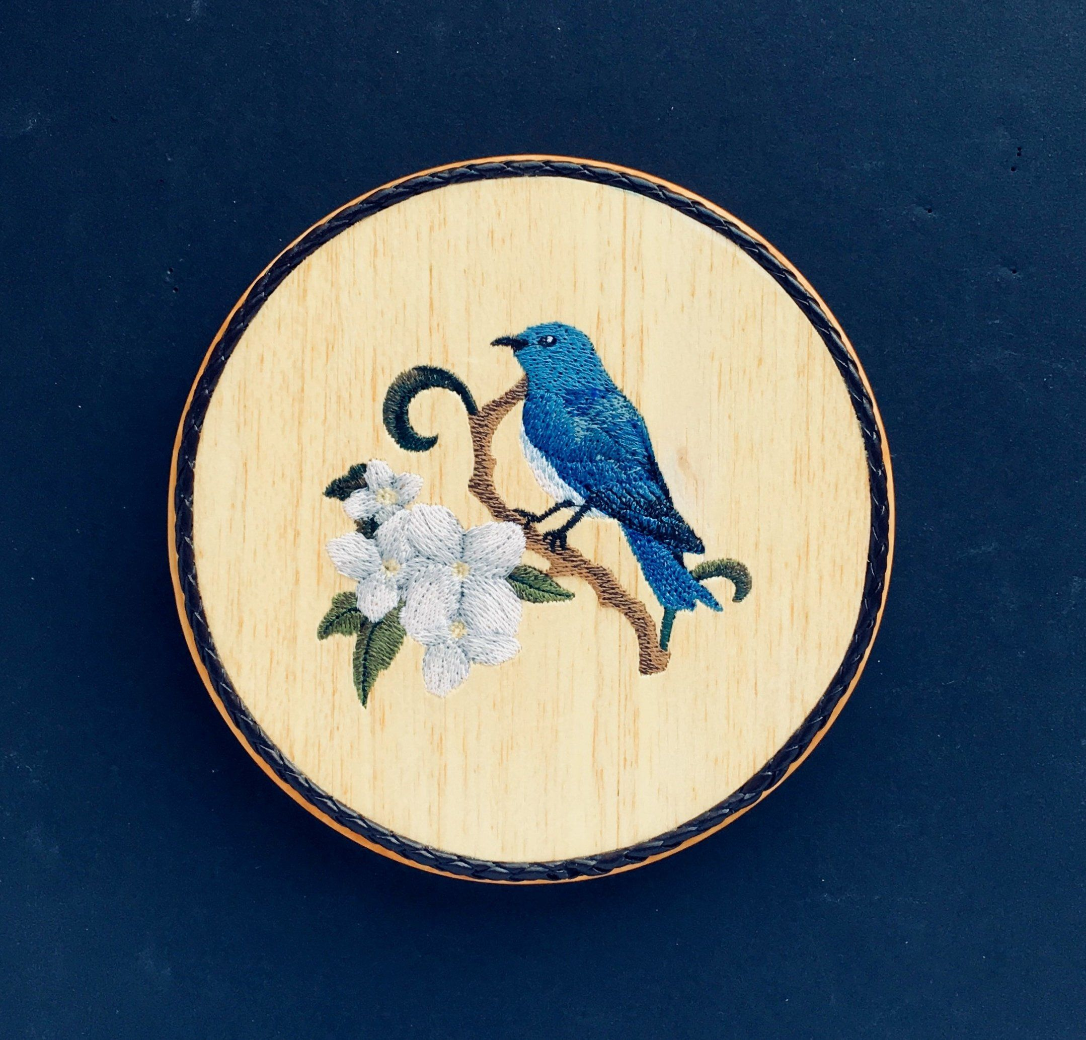 Bluebird Embroidery Art on Balsa Wood, Pretty Song Birds and Flowers ...