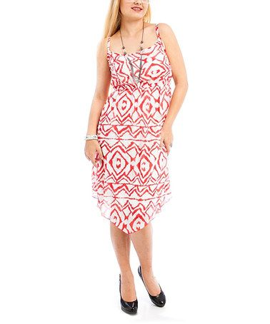 Another great find on #zulily! Red & White Ikat Sleeveless Dress - Plus #zulilyfinds